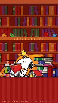Snoopy and Woodstock Reading in a Library                                                                                                                                                                                 More