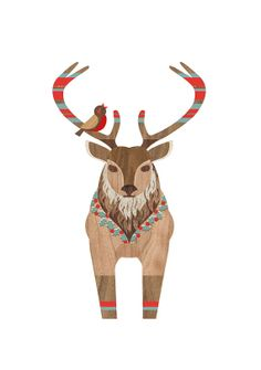 Christmas Red Deer Print by finchandrobin on Etsy