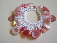 Bracelet of Dangling Vintage Buttons in Crochet  by InChains, $20.00