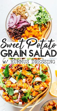 With roasted sweet potato quinoa arugula feta and a quick hummus dressing this warm Sweet Potato Salad recipe is a hearty side salad for any occasion. A flavor packed salad recipe for Thanksgiving or Christmas dinner that the whole family will love. Vegetarian Side Dishes, Vegetarian Recipes Easy, Healthy Salad Recipes, Vegetable Recipes, Healthy Lunches, Hummus Dressing, Salad Dressing Recipes, Salad Recipes For Dinner, Dinner Salads