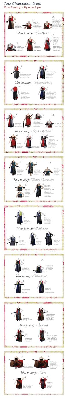 how to wrap your chameleon dress Different kind of infinity dress. Wrap Clothing, Diy Clothing, Sewing Clothes, Convertible Clothing, Convertible Dress, Dress Card, Diy Dress, Wrap Dress, Sewing Hacks