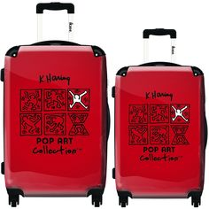iKase Red Keith Haring 2-piece Hardside Spinner Luggage Set