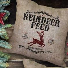 Reindeer Holiday Burlap Pillow from Bourbon & Boots