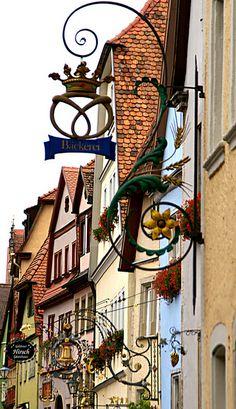 Untere Schmiedgasse, Rothenburg ob der Tauber, Germany Rothenburg Germany, German Oktoberfest, Rothenburg Ob Der Tauber, Neuschwanstein, Outdoor Signs, Street Signs, Shop Signs, Germany Travel, Natural Wonders
