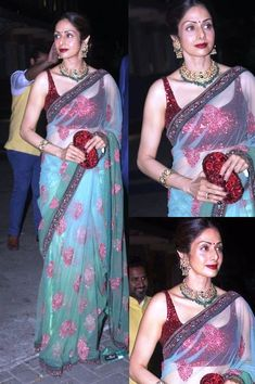 Bollywood Style Sridevi mint green and red colour netted saree in USA,UK and Canada New Saree Blouse Designs, Saree Blouse Patterns, Red Lehenga, Lehenga Choli, Green Saree, Bridal Lehenga, Bollywood Saree, Bollywood Fashion, Latest Designer Sarees