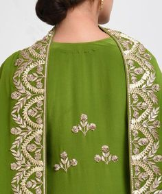 From our Wedding and Bridal Collection, this is a mehandi green pure crepe suit with intricate exquisite gold and rose gold gota patti hand embroidery. The embroidery work on the shirt at sleeve ends and center back. The pure georgette dupatta ha Embroidery Suits Punjabi, Hand Embroidery Dress, Embroidered Clothes, Pakistani Dresses Casual, Pakistani Bridal Dresses, Wedding Dresses, Kurta Designs, Blouse Designs, Indian Designer Outfits