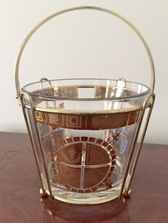 Glass Ice Bucket Mid Century Gold Rim and by SouthernLadyEstates