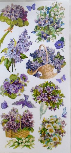 Stickers-Violets-Purple Flowers-Decoupage-Collage-Mixed