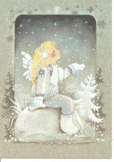 Kaarina Toivanen Series: The joy and warmth Christmas Time Is Here, 1st Christmas, Christmas Angels, Vintage Christmas, Angel Illustration, Night Illustration, Christmas Illustration, Christmas Clipart, Christmas Greetings