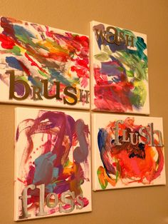 Have your kids paint on a canvas to help decorate their bathroom :) Kids Bathroom DIY Art on Canvas - {Tutorial} - Between U & Me.Could tape of letters and let kids paint over them, then peel off when dry. Bathroom Canvas Art, Bathroom Kids, Diy Canvas Art, Kids Bath, Bathroom Colors, Kids Canvas, Bathrooms, Bathroom Artwork, Bathroom Paintings