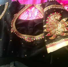 Gorgeous embellished black blouse. Perfect for a plain saree. Kanchivaram or not.
