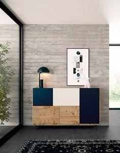 Aparador moderno. Frentes en blue mate, roble nudoso y arena mate. #furnituredesign #scandinaviandesign Cabinet Furniture, Design Furniture, Dining Room Furniture, Bauhaus Furniture, Tv Wand, Futuristic Furniture, Modern Cabinets, Room Lights, Living Room Decor