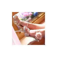 Golden Crystal Sole Ankle Flowers Sandals
