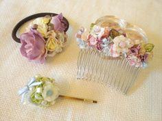 Frill Flower Hair × Pink+beige+Blue♥ 《フリルヘアコーム*ピンク+ベージュ+ブルー》ピンク・ベー...|ハンドメイド、手作り、手仕事品の通販・販売・購入ならCreema。