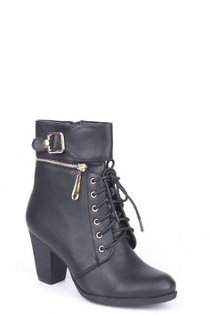 High Heel Lace Up Buckle Boots - Black