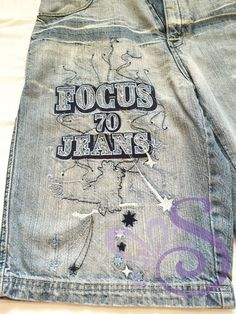 FOCUS 70 Jeans Embroidered Mens Denim Pants 100% Cotton Distressed Blue Size 34 #Focus70Jeans #CasualShorts