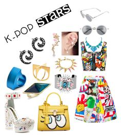 KPOP Stars by maggiefrank on Polyvore featuring polyvore, fashion, style, WearAll, Moschino, Kat Maconie, Chicnova Fashion, House of Harlow 1960, Sarah Magid, Loewe, Filip Vanas, clothing and kpop