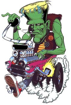 Artist Chris Cooper, Coop Hot Rod Devil Sticker on Poster Pop Rat Fink, Cartoon Kunst, Cartoon Art, Ed Roth Art, Rockabilly Art, Retro, Fu Dog, Classic Artwork, Garage Art