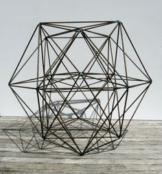 Mid century polyhedron tetrahedron geometric sculpture  Centerpiece  #hrvawedstyle