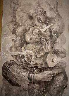 Shiva Art, Ganesha Art, Krishna Art, Hindu Art, Buddha Tattoo Design, Buddha Tattoos, Elefante Tattoo, Ganesh Tattoo, Lord Ganesha Paintings