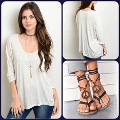 Beige Black Speckled Top This comfy knit top features front pocket, short sleeves and will be your favorite casual top. 100% Rayon. ❌Shoe pic for styling only and n/a❌ (This closet does not trade or use PayPal) Promesa Tops Tees - Short Sleeve
