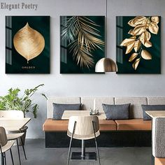 Abstract Golden Plant Leaves Picture Wall Poster Modern Style Canvas Print Painting Art Aisle Living Room Unique Decoration in 2019 Leaf Wall Art, Abstract Wall Art, Wall Art Decor, Feather Wall Art, Wall Art Sets, Living Room Pictures, Wall Art Pictures, Poster Pictures, Golden Wall