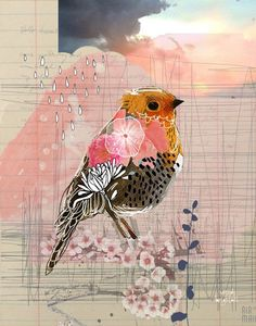 art journal Into the Sunset 11 x 14 Art Print by agirlandherbrush on Etsy Paper Collage Art, Collage Artwork, Bird Artwork, Paper Art, Collage Ideas, Kunstjournal Inspiration, Art Inspiration Drawing, Art Journal Inspiration, Art And Illustration