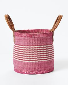 Natural Woven Laundry Basket Bin Hamper Baby Toys Containers Diaper Bag with Pom Poms for Nursery Kids Room Storage Large Cotton Rope Basket Pink