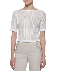Littrelly Multi-Striped Knit Top, Women's, Size: M, Black - Theory