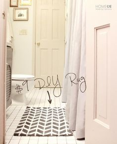 Learn to make DIY painted rugs at a fraction of the cost. These Lulu & Georgia inspired rugs are amazing! Diy Bathroom Decor, Bathroom Rugs, Bathroom Ideas, Bathrooms, Bathroom Updates, Bathroom Makeovers, Bathroom Mirrors, Kitchen Decor, Georgia