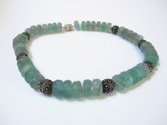 GIFT IDEA Light green beaded semi precious gemstone choker necklace made of  fluorite and silver finished with magnetic clasp