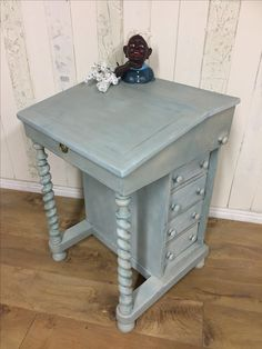 Small Davenport desk, painted in shades of blue using the Chalk Paint™ palette, and sealed with lining and clear waxes