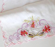 Vintage Embroidered Table Runner Floral Dresser Scarf  White Pink Purple Green