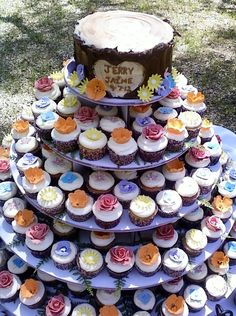 Outdoor spring wedding cupcakes