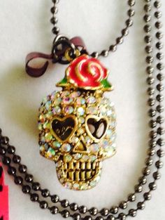 Betsy Johnson Skull With Red Rose