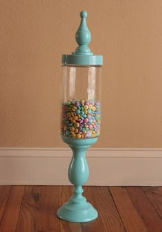 DIY apothecary jar! Super easy and inexpensive. WAY cheaper than buying one of those expensive ones from Hobby Lobby!