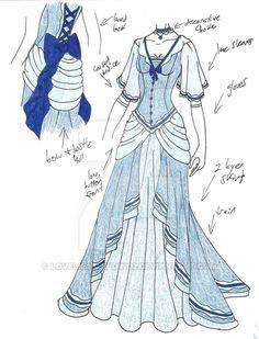 Blue Princess Dress -flowy