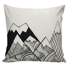 Geometric Mountain Cushion Pillow Cover cotton by UrbanElliott Pillow Inserts, Pillow Covers, Kindergarten Report Cards, Geometric Mountain, Country Style Homes, Switch Covers, Off White Color, Cotton Pillow, Black Canvas