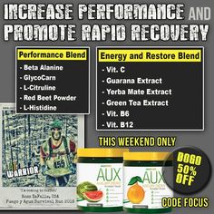 This weekend only -- AUX Stockup!! Experience one of the most natural and effective pre-workouts available, with the power every WARRIOR needs for optimal performance! **BOGO 50% OFF with promo code FOCUS at checkout!**