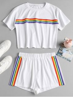 Striped Patched Shorts Set - White S Cute Lazy Outfits, Kids Outfits Girls, Sporty Outfits, Teenager Outfits, Stylish Outfits, Girls Fashion Clothes, Teen Fashion Outfits, Cute Sleepwear, Pride Outfit