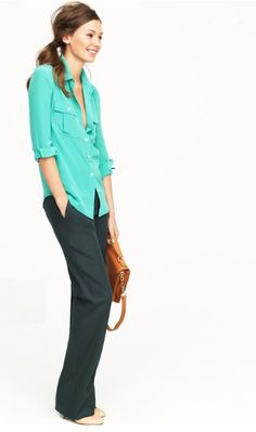Very relaxed look - silky blouse w/ casual slacks i love this shirt color!