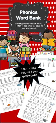 $ PHONICS WORD BANK...building words one or more letters at a time, as sounds are introduced. An amazing resource for both parent and teachers… especially if you are using a synthetic phonics program like JOLLY PHONICS! Download it now to access word lists that are sequenced to contain the sound the child is learning and sounds that have been previously taught. It is a great resource for both reading and spelling! Click it to find out more! (PRINT Letters and SASSOON Infant Font.)