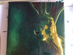 oil image of a hare