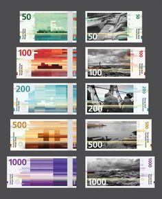 Norway's new banknotes by the two Oslo-based design studios Snøhetta & The Metric System. A beautiful blend between pixelated designs and analog images.