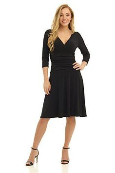 3d8a36380dab Rekucci Women's Slimming 3/4 Sleeve Fit-and-Flare Crossover Tummy Control  Dress