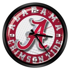 "NCAA Alabama Crimson Tide 15"" Glass Clock"