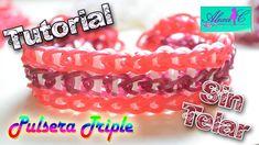 ♥ Tutorial: Pulsera Triple de gomitas (sin telar) ♥