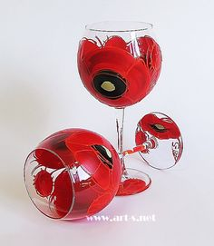 Hand Painted Wine Glasses. Set of 2 Red by HandPaintedGlassArtS
