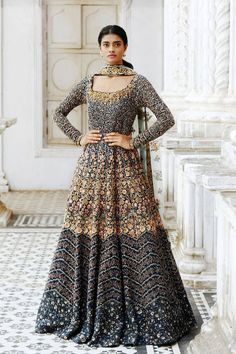 7673b57c6d11b Beautiful Navy Blue Color Attractive Designer Embroidered Gown FFSK-2035