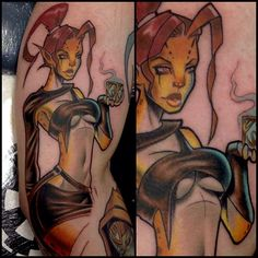 Star Wars Jedi Pin Up Girl Tattoo - Matt Difa - http://inkchill.com/star-wars-pin-up-tattoo/ #geek #starwars #pinup #tattoos